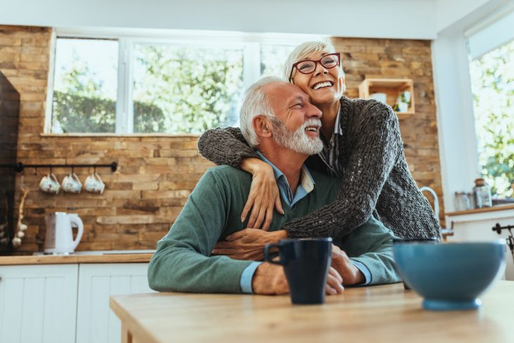 Shot of a mature woman hugging her husband. concept: roth ira vs traditional ira
