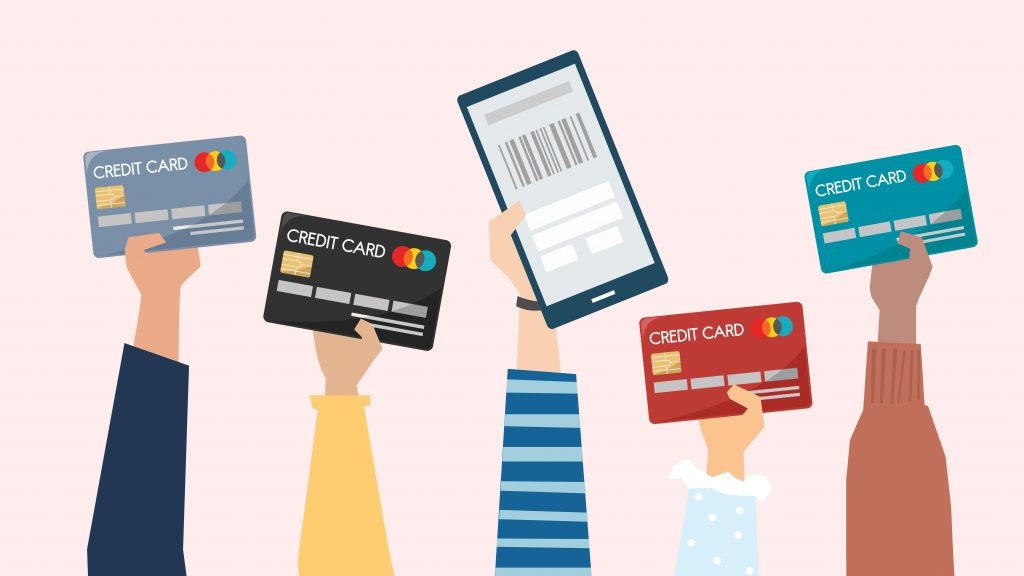 Ilustración de personas pagando con tarjeta de crédito. Concept: tarjeta