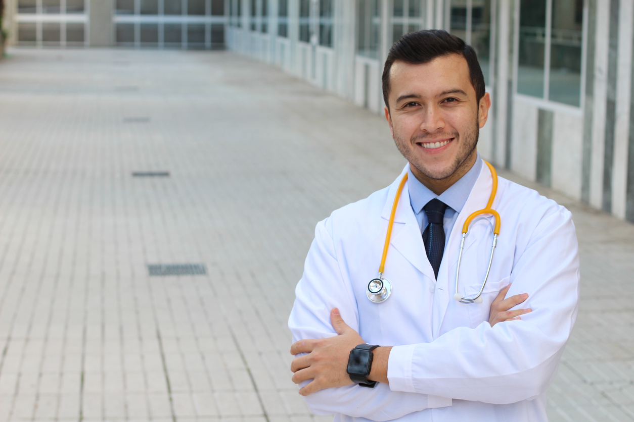 Medical worker with copy space. concept: small business health insurance
