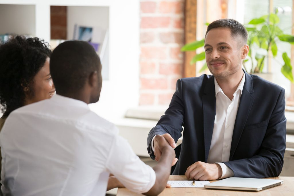 Business lawyer meeting with clients