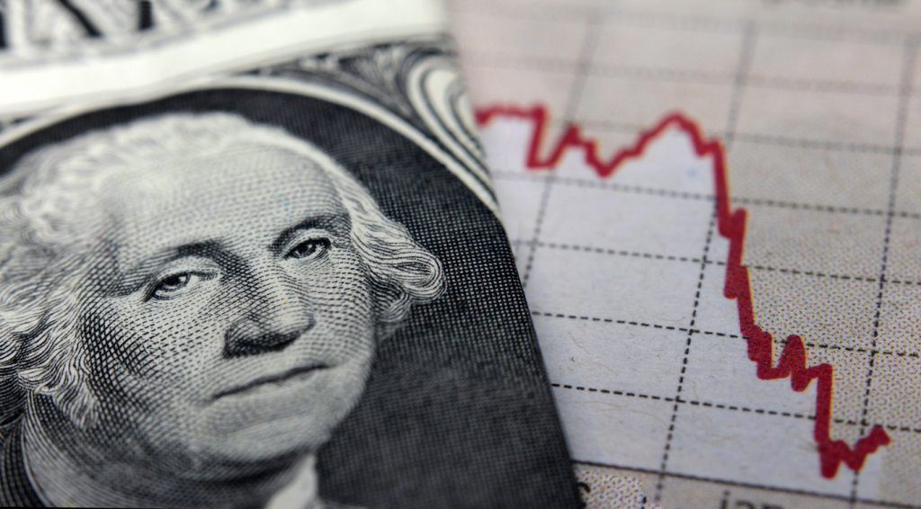 Stock Market Graph next to a 1 dollar bill (showing former president Washington). Red trend line indicates the stock market recession period. concept: Invest In The Stock Market