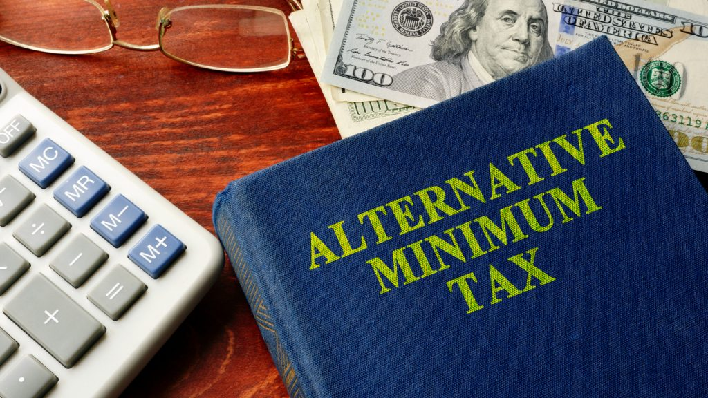 Book with title Alternative Minimum Tax (AMT). Concept: what is AMT tax