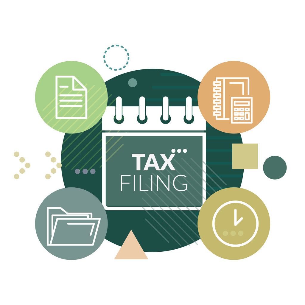 Government Tax Filing and Compliance - Illustration as EPS 10 File. Concept: What happens if you file taxes late?