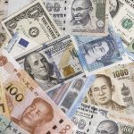 International banknotes from world major countries. Concept: where to exchange currency