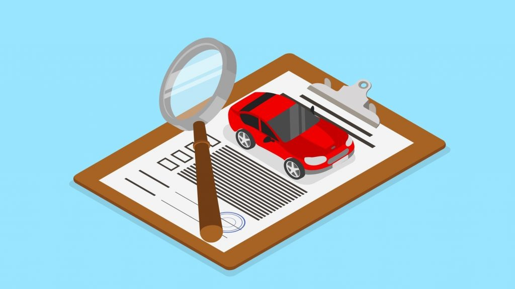 Car valuation and insurance. Isometric illustration with car and documents on blue background. Vector 3d design. Concept: Can You Refinance A Car Loan?