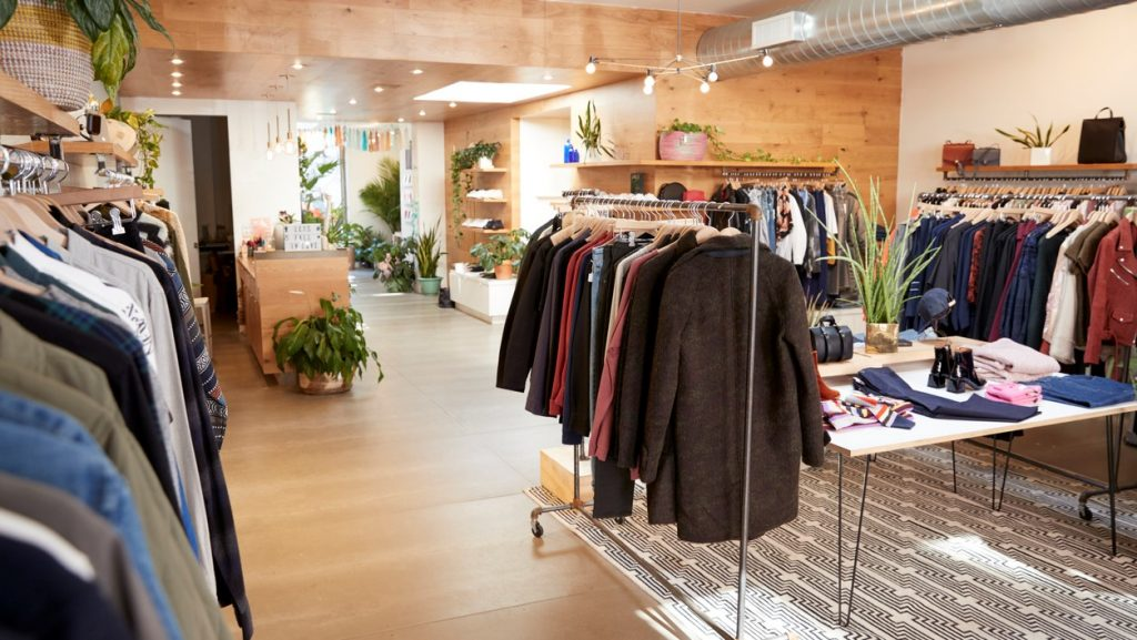 Clothes shop interior. concept: how to start a clothing business