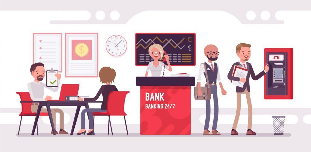 Ilustración de sucursal de banco con clientes. Concepto: Cuenta corriente o cuenta de ahorro.