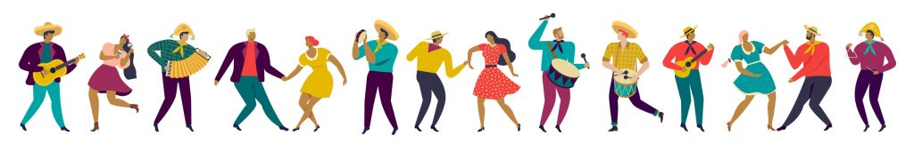 Festa Junina Brazil party People In Traditional Clothes Musicians And Dancers Horizontal Banner. Characters. Vector Illustration. concept: Hispanic Heritage Month