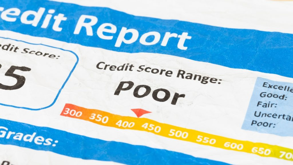Poor credit score report on wrinkled paper. Concpet: 3 credit bureaus