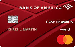 Bank of America Cash Rewards credit card. concept: best cashback credit cards