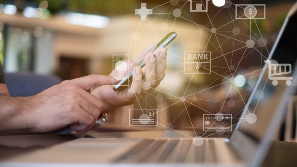 mobile banking network. business people using mobile phone with icon application online payment. Concept: How to choose a bank