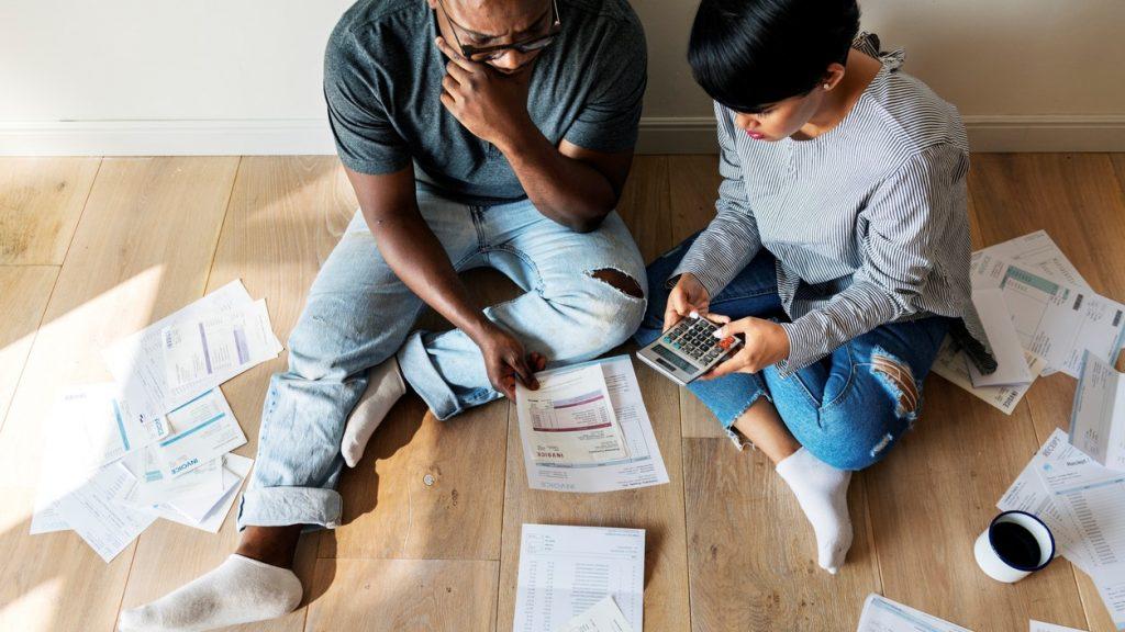 Couple managing the debt. concept: Debt Management Program