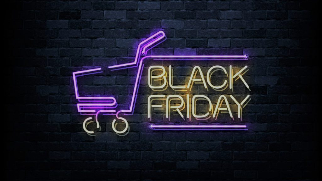 Vector realistic isolated neon sign of Black Friday logo for decoration and covering on the wall background. Concept of sale and discount. Concept: black friday tips