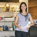 Portrait Beauty Product Shop Manager Smiling To Camera. concept: Credit utilization