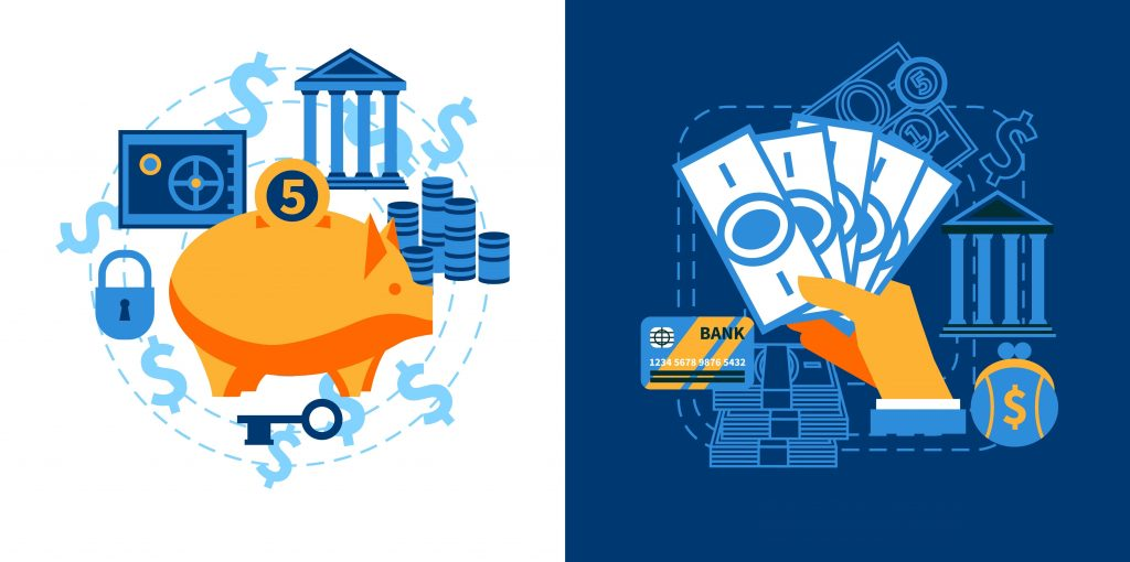 Flat design icons concept set of financial security crediting and management vector illustration. Concept: Debt Management Tips