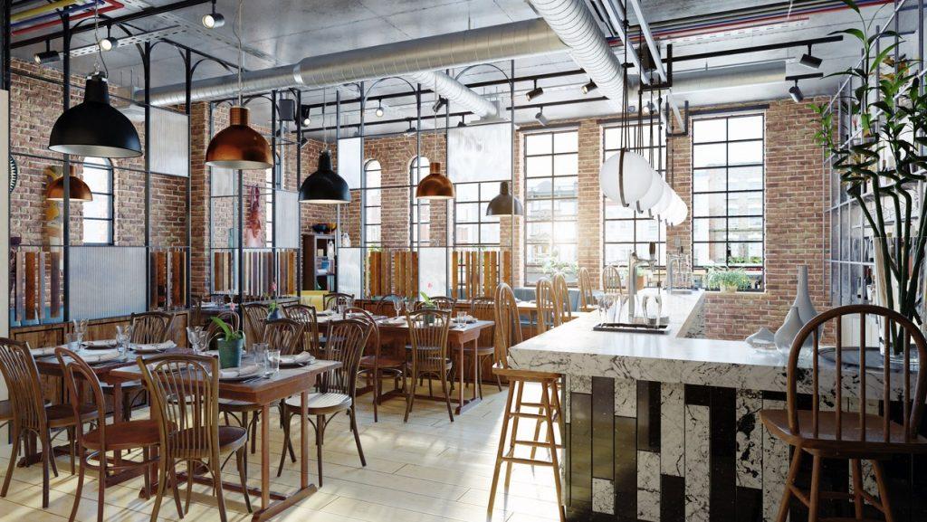 modern restaurant interior design. 3d rendering concept: networking events