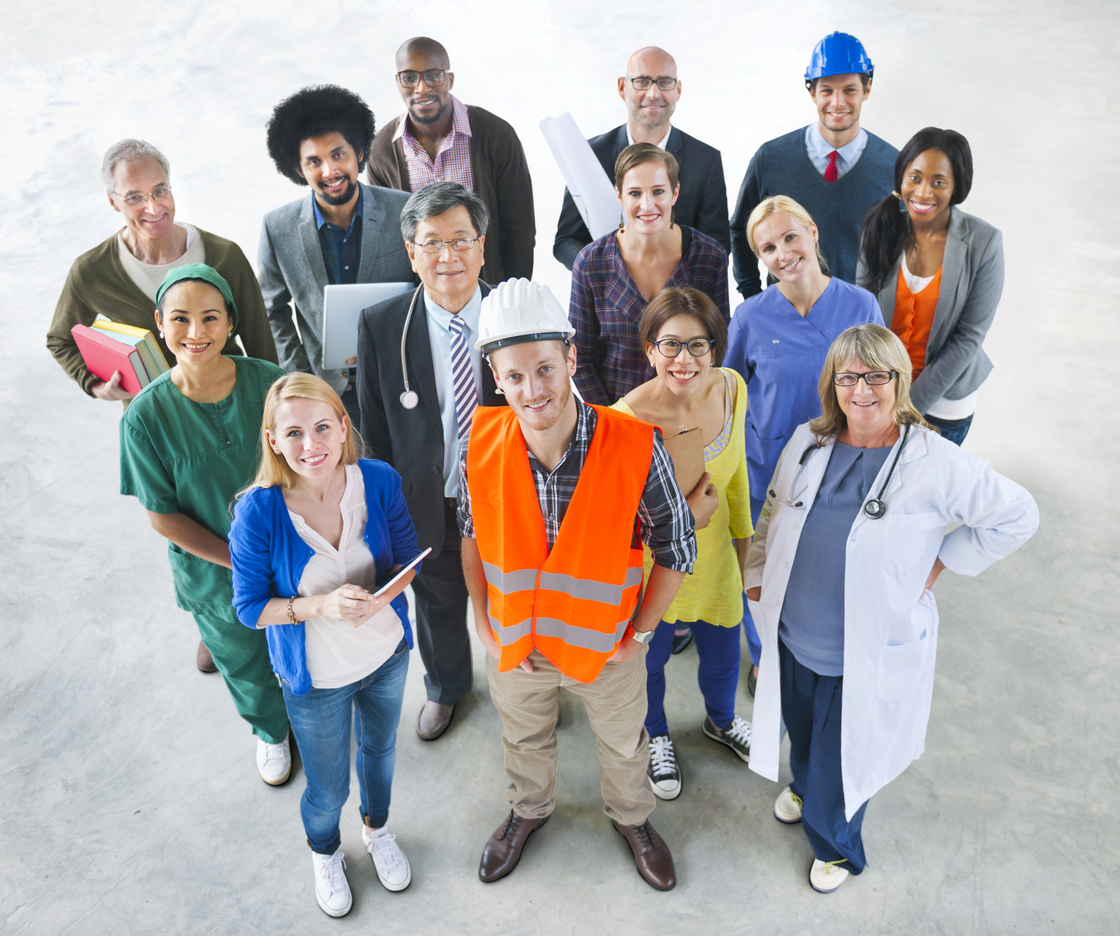 Group of Multiethnic Diverse People in different types of industries