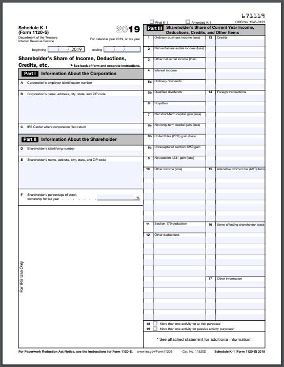 Schedule k1-1120, IRS