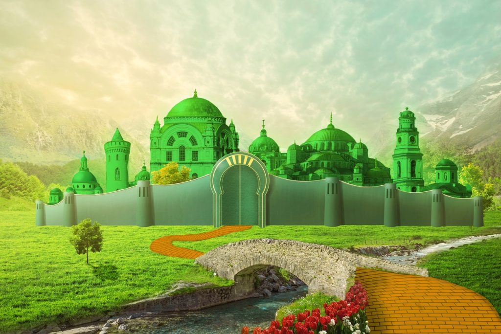 Emerald City with yellow brick road and bridge across the river. concept: business owner
