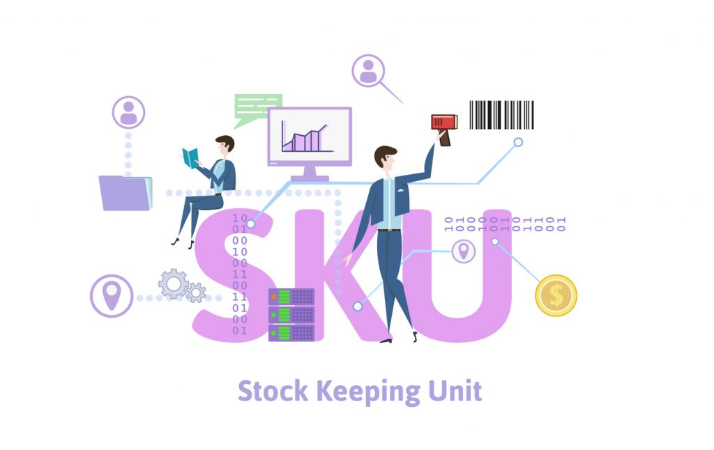 SKU, stock keeping unit. Concept with keywords, letters and icons. Colored flat vector illustration on white background.