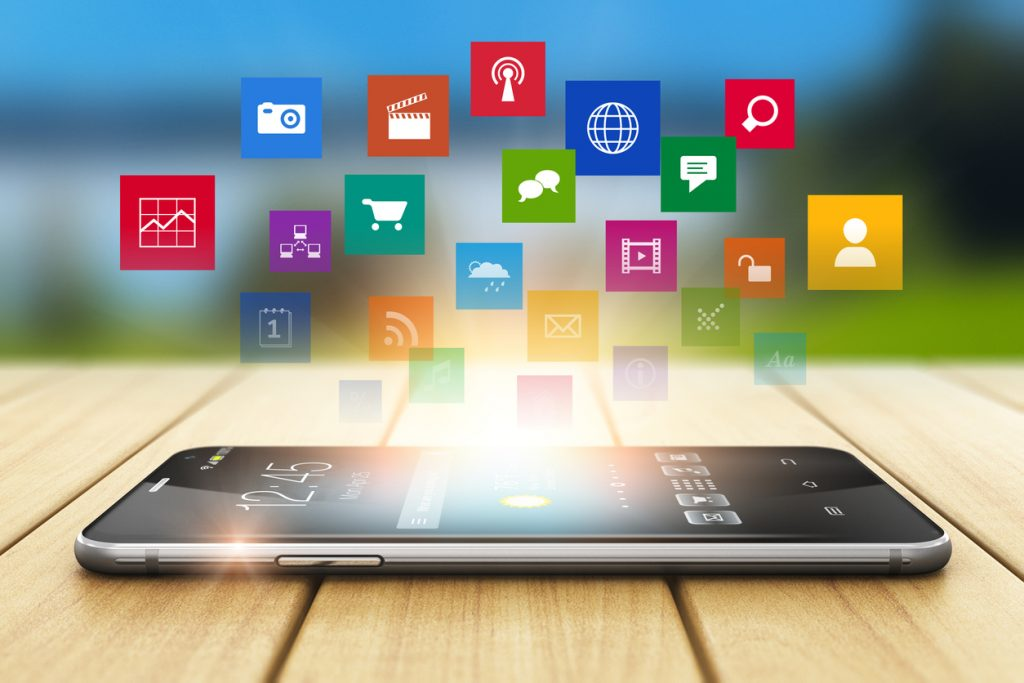 Celular, abstracto, apps, aplicaicones, recnología. Concept: apps para negocios