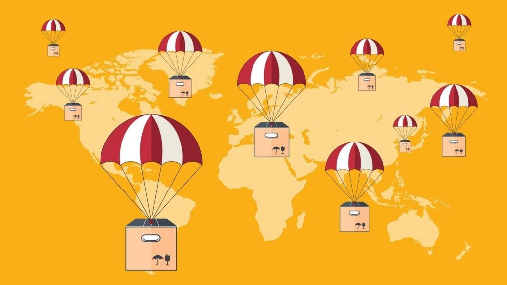 Delivery with parachute. Dropshipping. Package flying on parachute, delivery service concept. Flat design. concept: Shopify vs Amazon