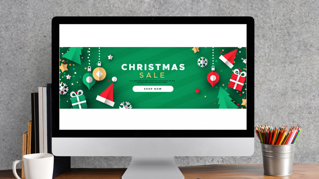 Christmas sale web banner template of 3d paper cut holiday icon decoration. Includes gift box, bauble, santa hat and pine tree. concept: marketing ideas