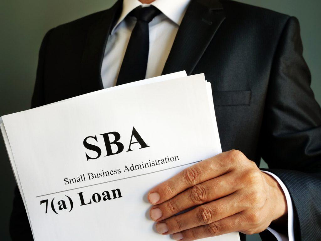 SBA 7a préstamo. Small Business Administration. concept: Tasas de préstamos de la SBA