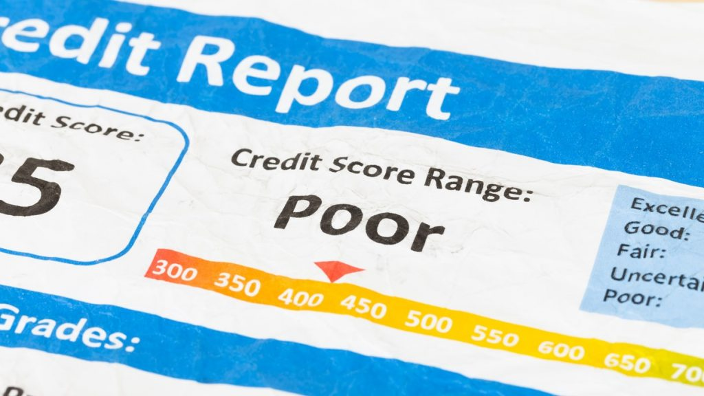 Poor credit score report on wrinkled paper. concept: Charged Off Account