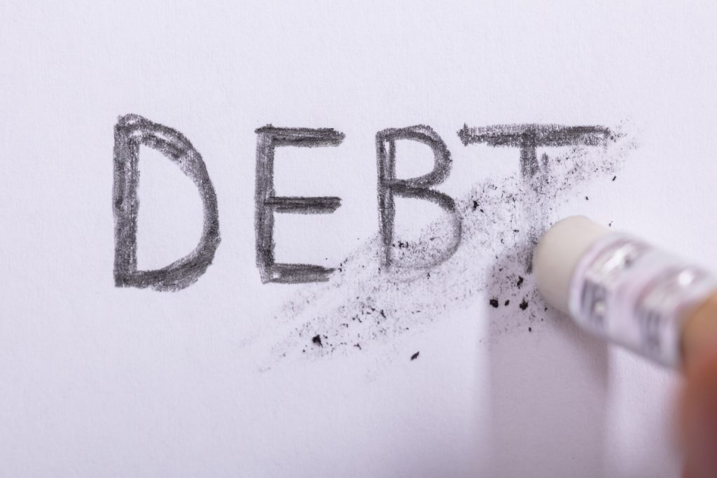 Close-up Of Pencil Eraser Erasing Debt Word On White Paper. concept: Charged Off Account