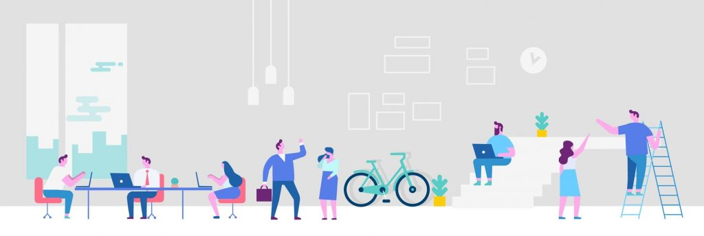 Flat style vector illustration. Co-working people horizontal banner. Concept: co-working