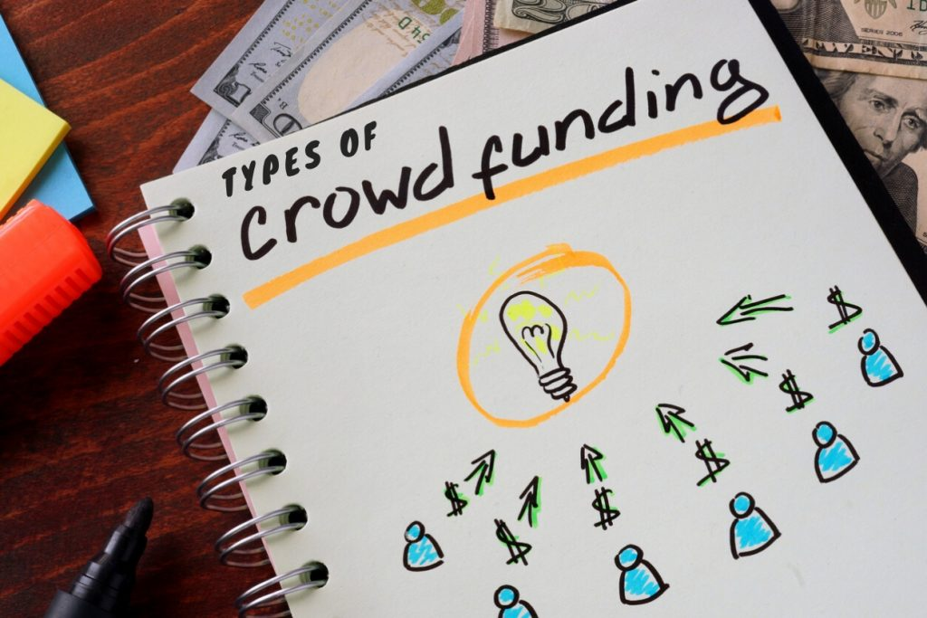 Notebook with crowd funding sign on a table. Business. concept: Types Of Crowdfunding