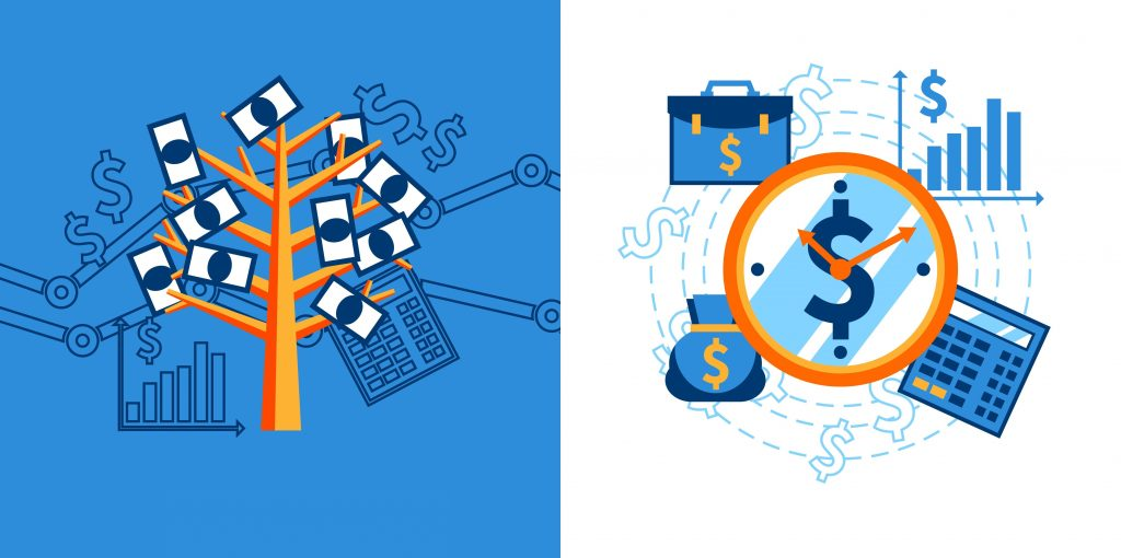 Flat design icons concept set of financial security crediting and management vector illustration. concept: types of crowdfunding. Designed by macrovector / Freepik