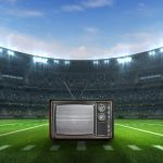 sport building 3D professional background illustration. with a tv on the center. concept: best super bowl commercials