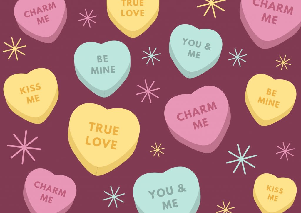 Colorful Candy Valentines Day Card. Camino Financial. concept: valentine's day/ advertising ideas