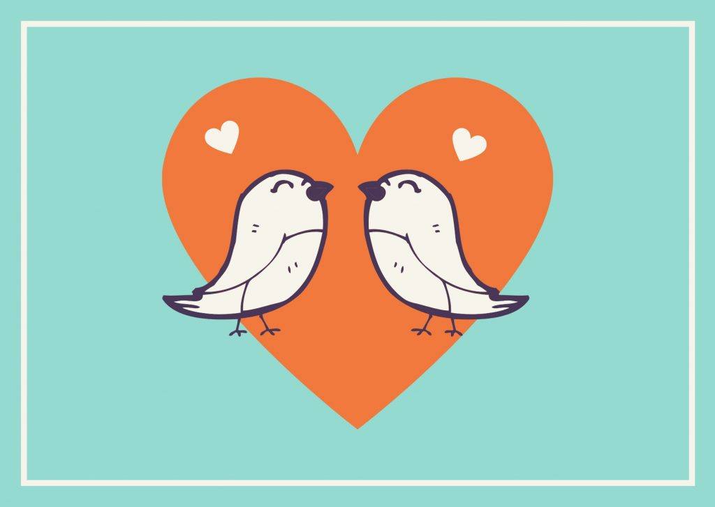 Orange and Mint Bird Illustration Valentines Day Card. Camino Financial. concept: valentine's day/ advertising ideas