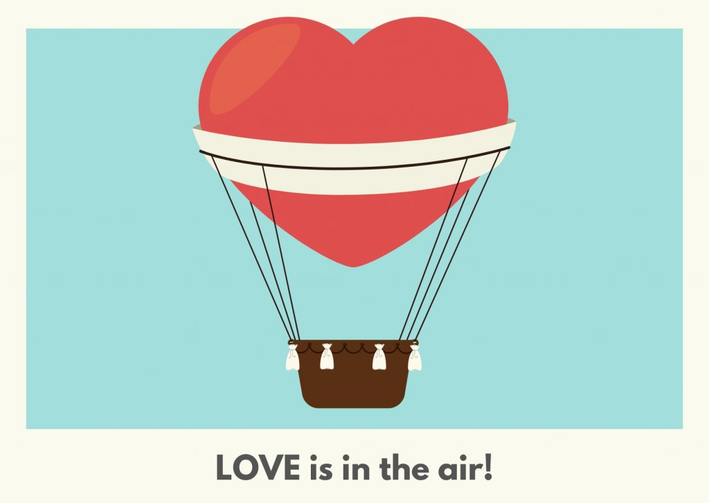 Powder Blue and Cream Red Heart Air Balloon Valentines Day Card. Camino Financial. concept: valentine's day/ advertising ideas