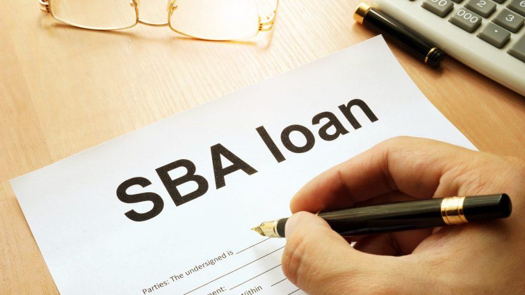 SBA loan form on a table. concept: SBA grants