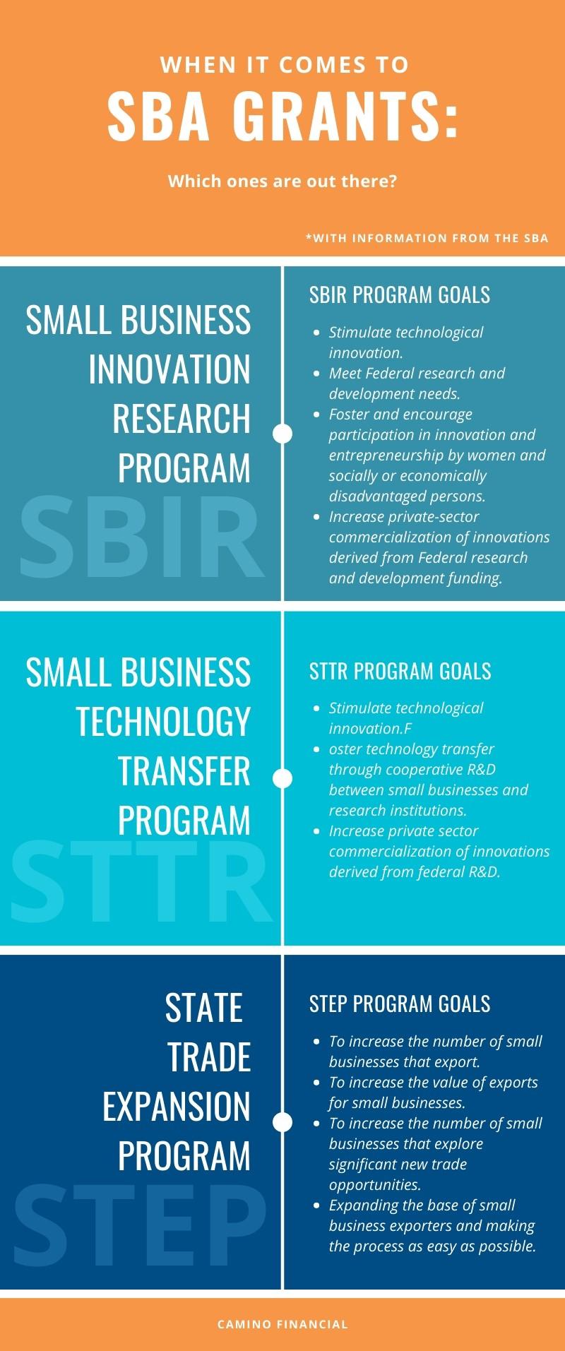 SBA grants infographic. Camino Financial