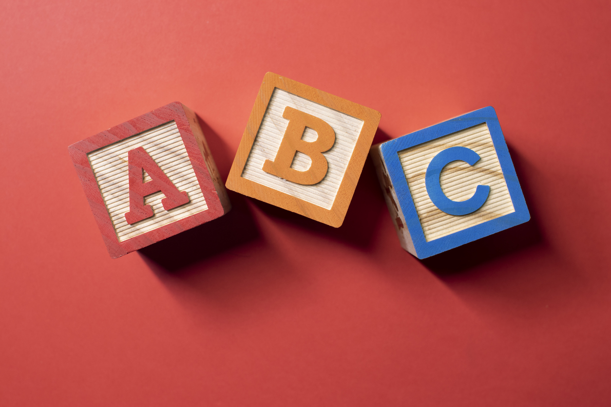 A, B and C wooden blocks. concept: ABC test