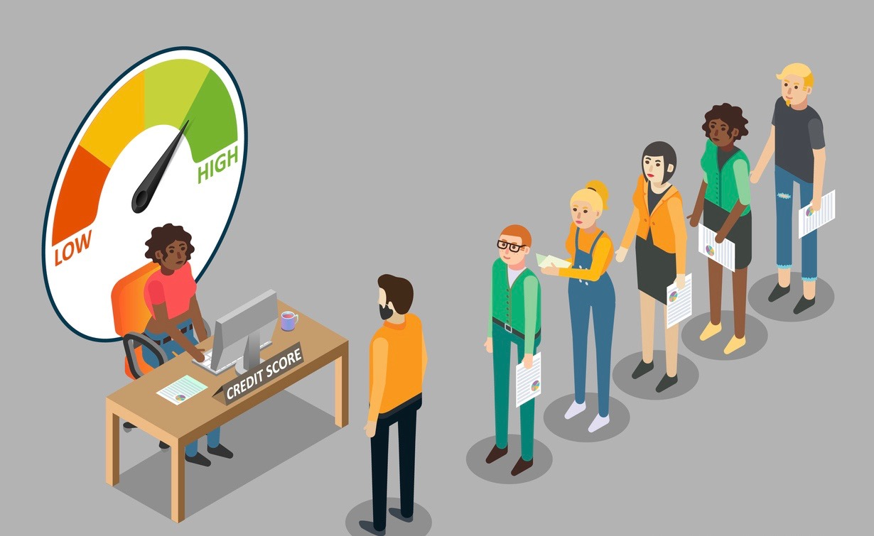 Credit scoring illustration. People waiting in queue for getting personal credit score information. Concept: changes in FICO scores