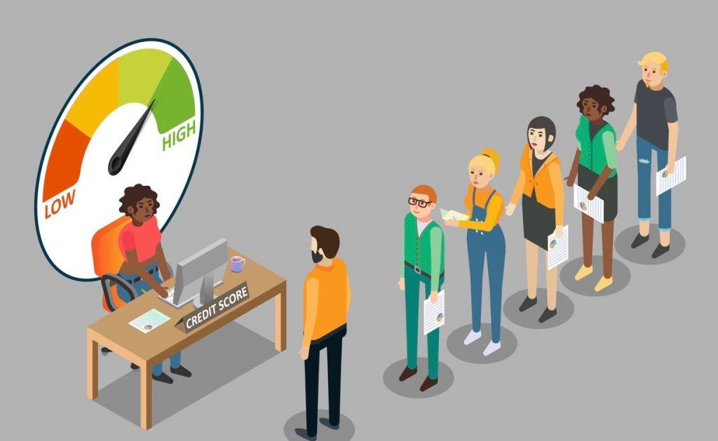 Ilustración: gente esperando en línea para obtener información sobre su puntaje de crédito. Concepto: nuevos puntajes FICO