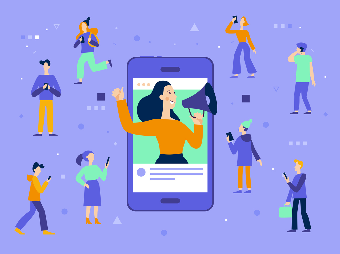 Vector illustration in flat simple style with characters - influencer marketing concept - blogger promotion services and goods for her followers online. concept: marketing to millennials