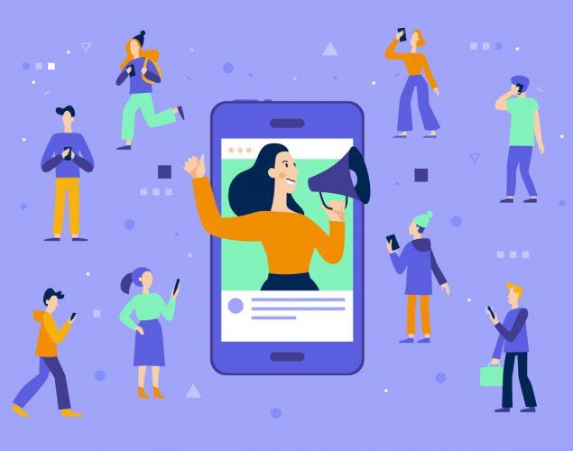 Ilustración de vectores. Influencer y marketing, blogger, servicios en línea. Concept: marketing, millennials