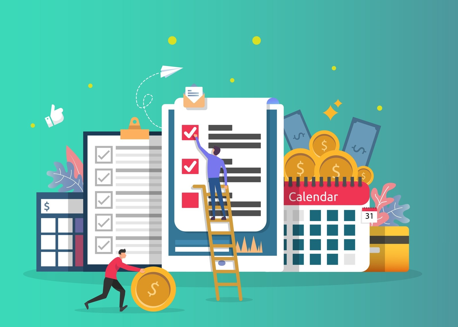 Payroll income concept. salary payment annual bonus. payout with paper, calculator, and people character. web landing page template, banner, presentation, social, and print media. Vector illustration. concept: best payroll software