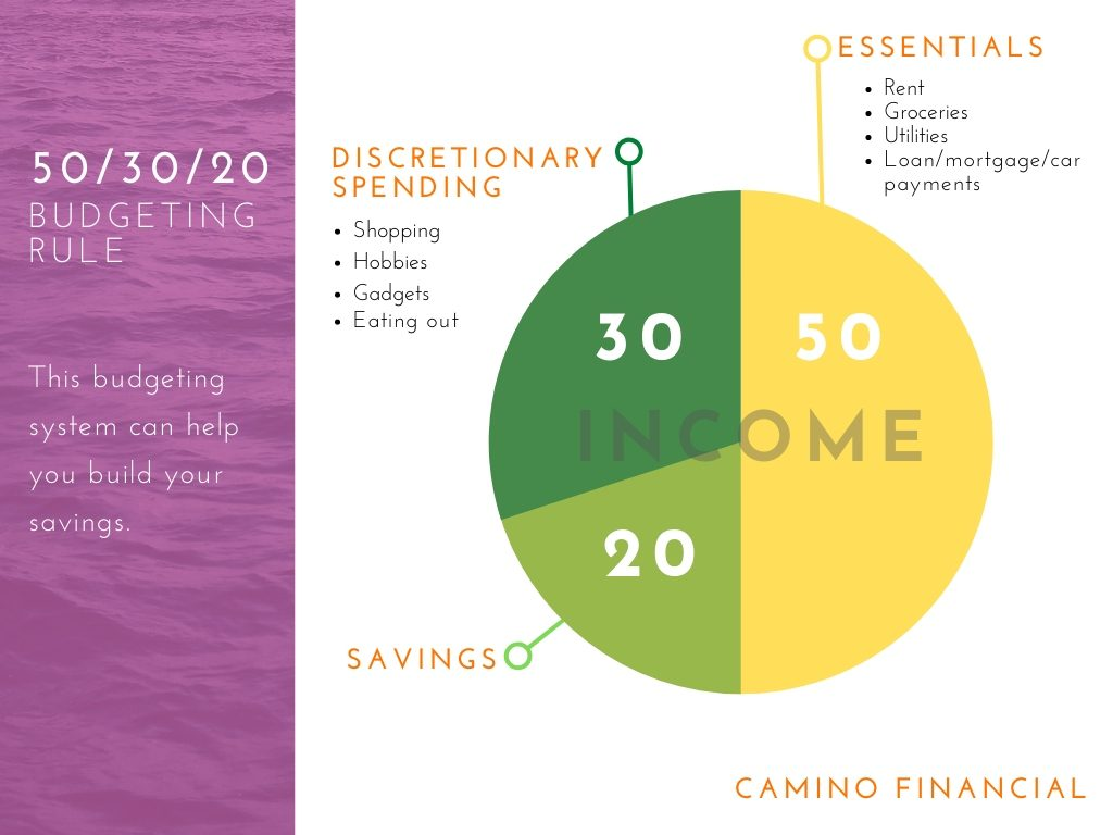 50-30-20 budgeting rule, infographic. concept: investment accounts. camino financial