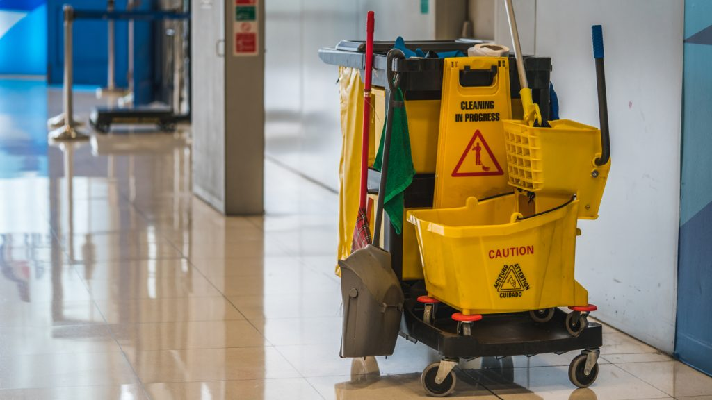 Working Photos. Daily Cleaning Equipment. concept: cleaning company