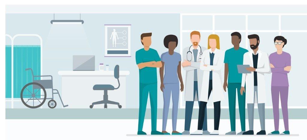 doctors, vector image, illustration. concept: medical loans