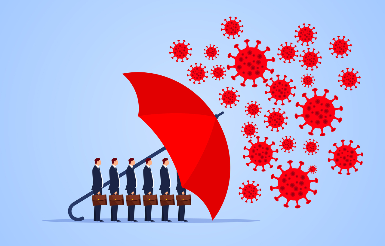 Red umbrella protecting business owners against coronavirus. Concept: how to manage your small business during the coronavirus epidemic