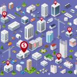 Mapa de edificios, casas, coches. Concept: Dónde aplicar al programa ppp